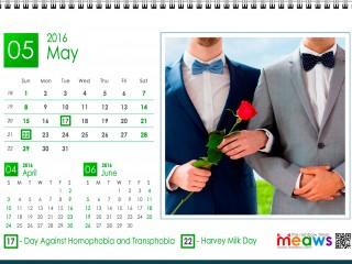 Calendar 2016 Gay Version Printable May 2016