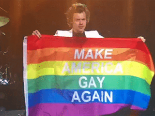 "Harry Styles waved a ""Make America Gay Again"" Pride flag during his concert"